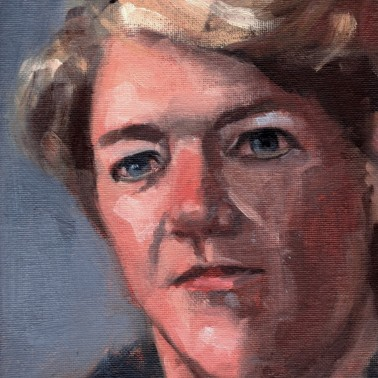 Clare Balding, PAOTW 2020, 8x6 inches, oil on canvas panel