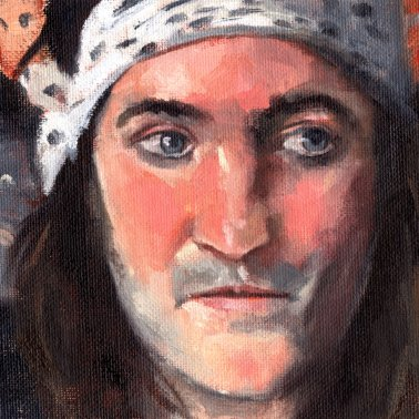 Noel Fielding, PAOTW 2020, 8x6 inches, oil on canvas panel